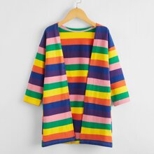 Toddler Girls Rainbow Striped Open Front Coat