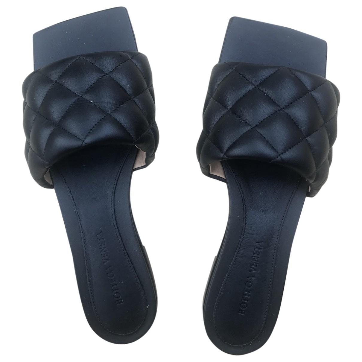 Bottega Veneta Bloc Black Leather Sandals for Women 38 EU