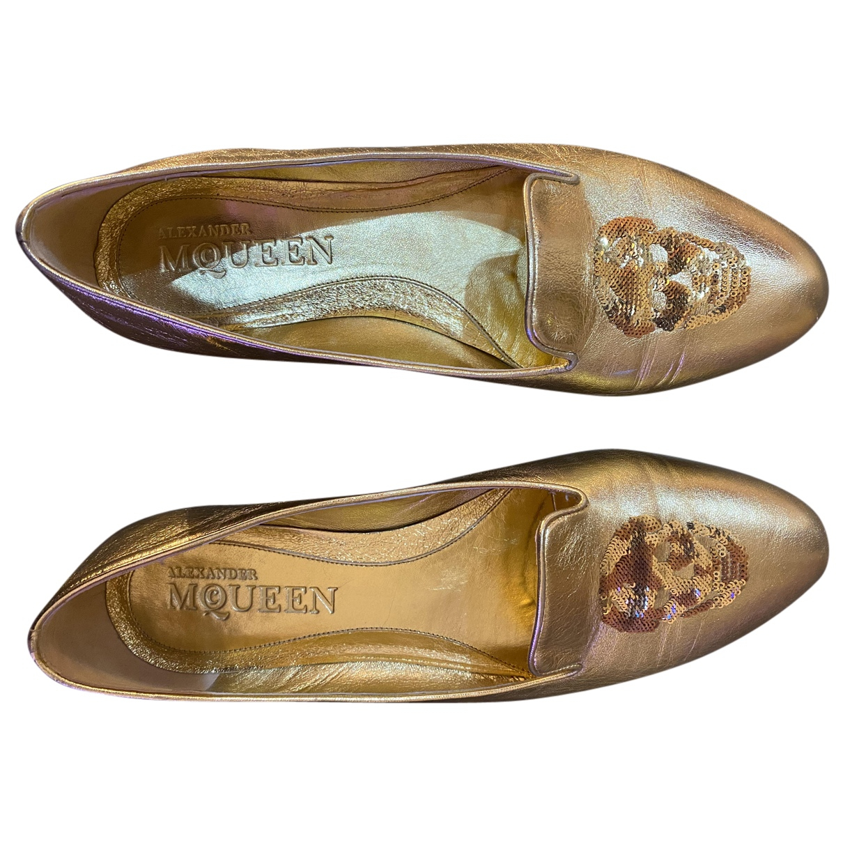 Alexander Mcqueen N Gold Glitter Flats for Women 40 IT