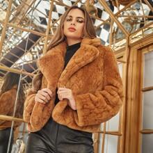 Notch Collar Solid Faux Fur Coat