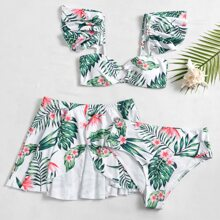 3pack Floral & Tropical Ruffle Bikini Swimsuit