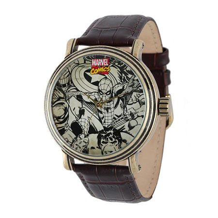 Marvel Vintage Spider-Man Mens Brown Leather Strap Watch, One Size , No Color Family
