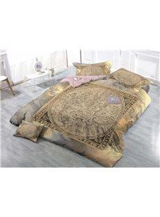 Vintage Style Wear-resistant Breathable High Quality 60s Cotton 4-Piece 3D Bedding Sets