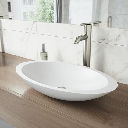 Wisteria Collection VGT1240 Matte Stone Vessel Bathroom Sink Set With Seville Vessel Faucet in Brushed
