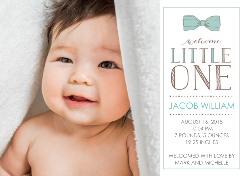 Newborn 5x7 Cards, Premium Cardstock 120lb, Card & Stationery -Welcome Little One Birth Announcement