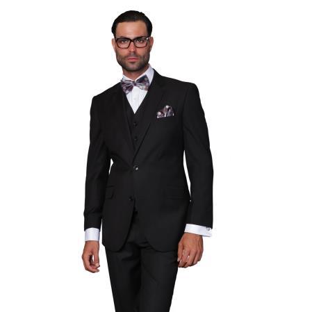 Mens Wool Solid Color 3-piece Suit Black