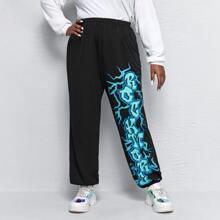Pantalones Extra Grande Bolsillo Frase Casual