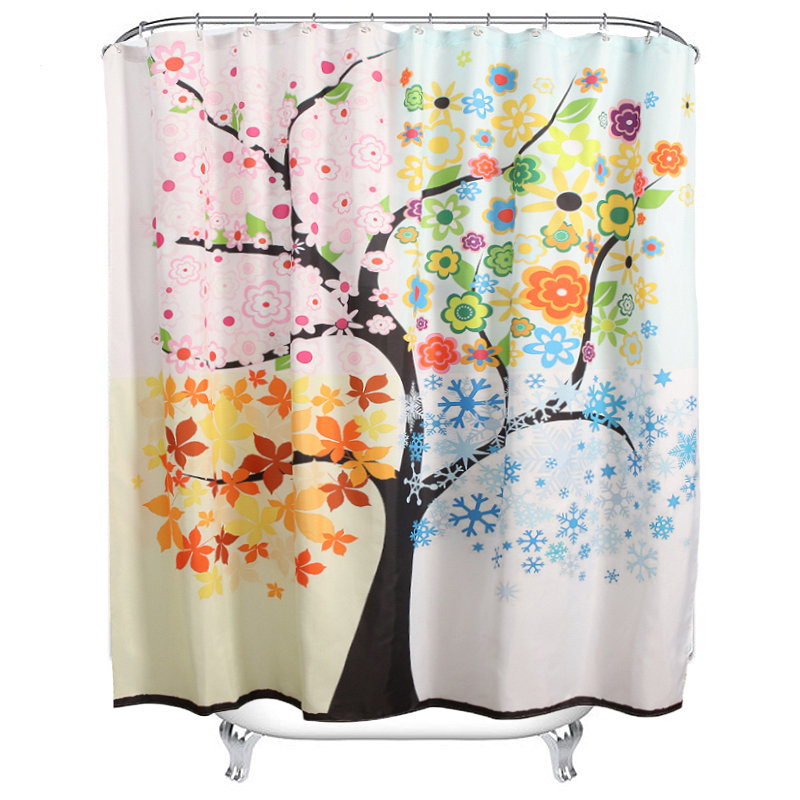 Bathroom Colorful Tree Pattern Waterproof Fabric Shower Curtain With 12 Hooks 2 Sizes Choices