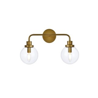 Hudson 2 Light Bath Sconce with Clear Shade (Brass)