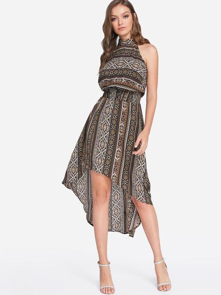 Yoins Random Tribal Print Lace-up Design Halter Sleeveless Stretch Waistband Dress