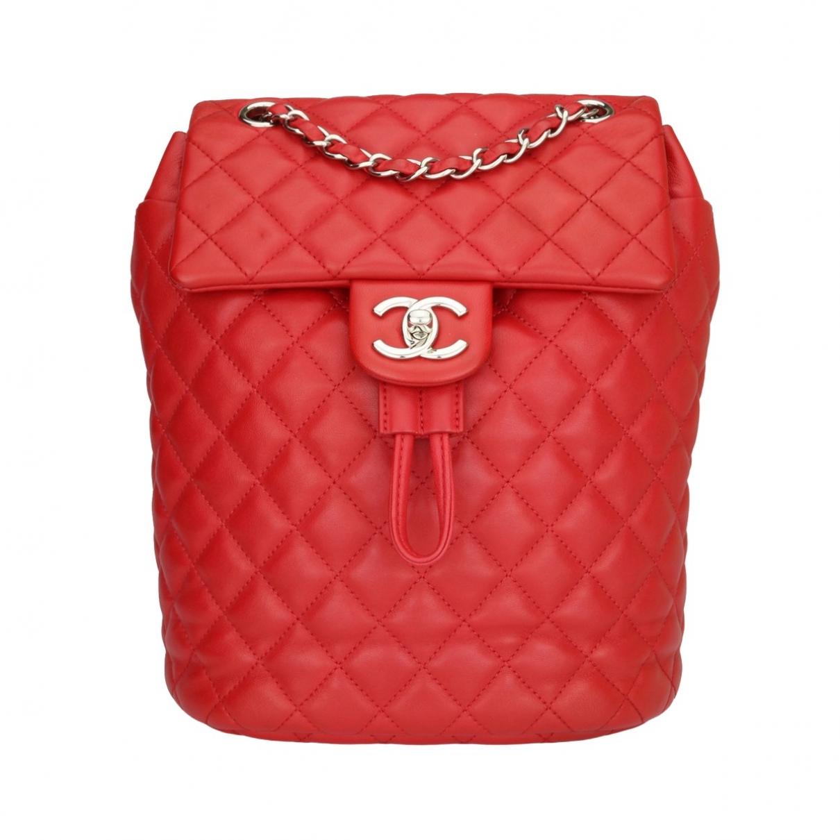 Chanel - Sac a dos   pour femme en cuir - rouge