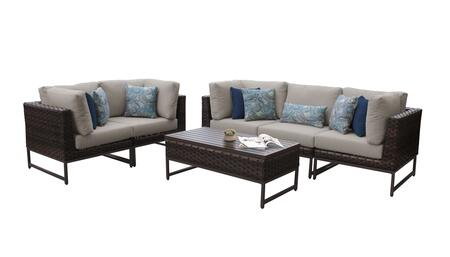 Barcelona BARCELONA-06m-BRN 6-Piece Patio Set 06m with 4 Corner Chairs  1 Armless Chair and 1 Coffee Table - 1 Beige Cover with Brown