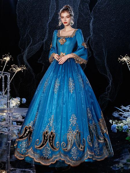 Milanoo Vestido de traje retro victoriano rococo azul real Masquerade encaje algodon Cosplay disfraz Halloween