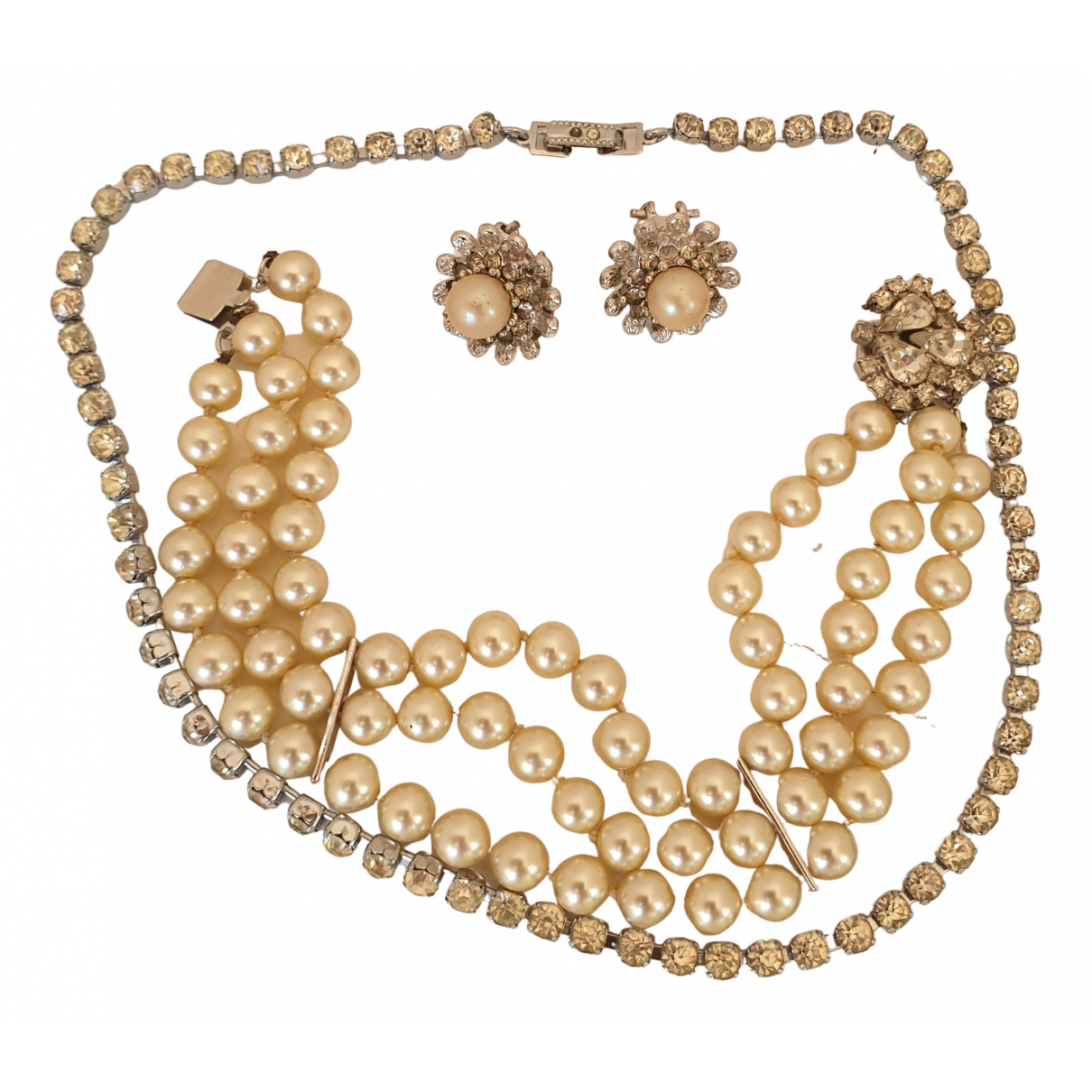 Non Signé / Unsigned \N Ecru Pearls Jewellery set for Women \N