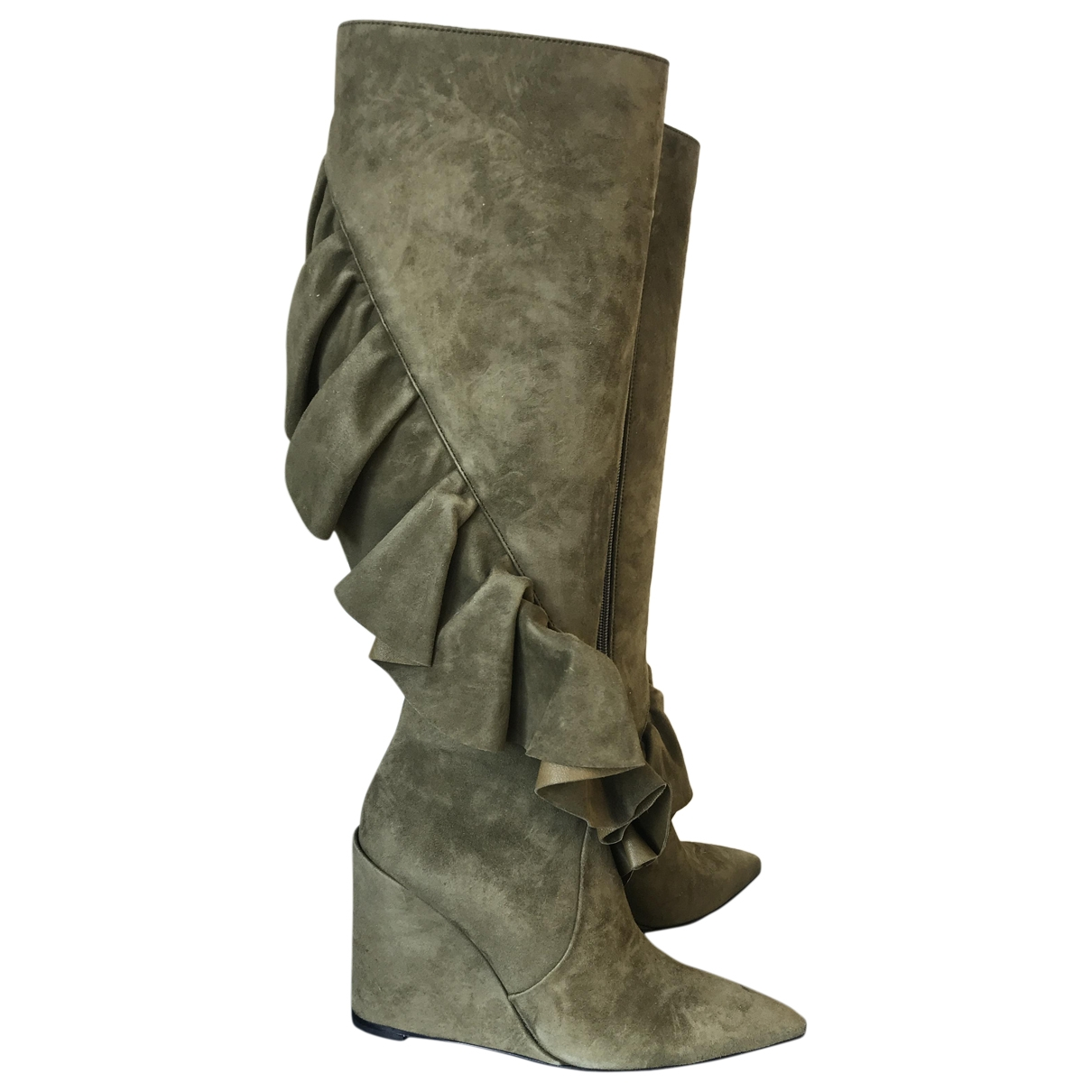 J.w. Anderson \N Green Suede Boots for Women 37 EU