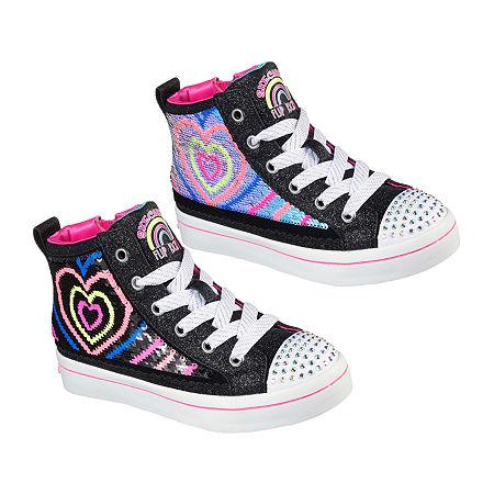 Skechers Twi-Lites 2.0 - Heartbeatz Little Kid/Big Kid Girls Sneakers, 1 1/2 Medium, Black