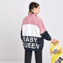 Girls Letter Graphic Colorblock Wind Jacket