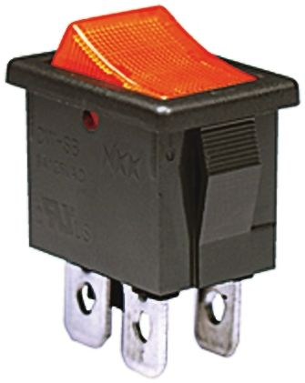 NKK Switches Illuminated Double Pole Single Throw (DPST), On-None-Off Rocker Switch Panel Mount