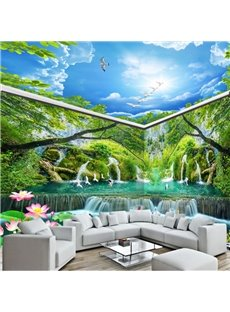Natural Waterfalls in the Mountain and Blue Sky Combined 3D Ceiling and Wall Murals