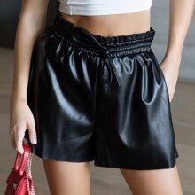 Faux Leather Elastic Paper Bag Waist Shorts