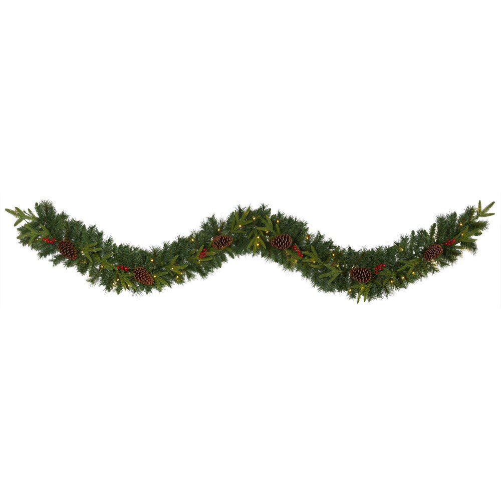 9' Mixed Pine  Christmas Garland with 50 Clear LED Lights, Berries (Artificial Garland - 9 Foot)