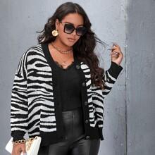 Plus Drop Shoulder Zebra Striped Cardigan