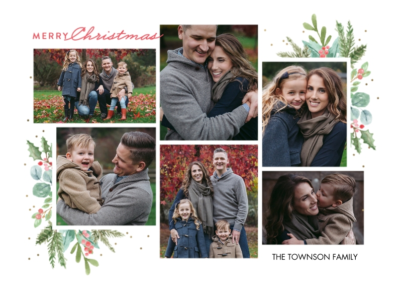 Christmas Photo Cards Flat Glossy Photo Paper Cards with Envelopes, 5x7, Card & Stationery -Christmas Foliage Collage by Tumbalina