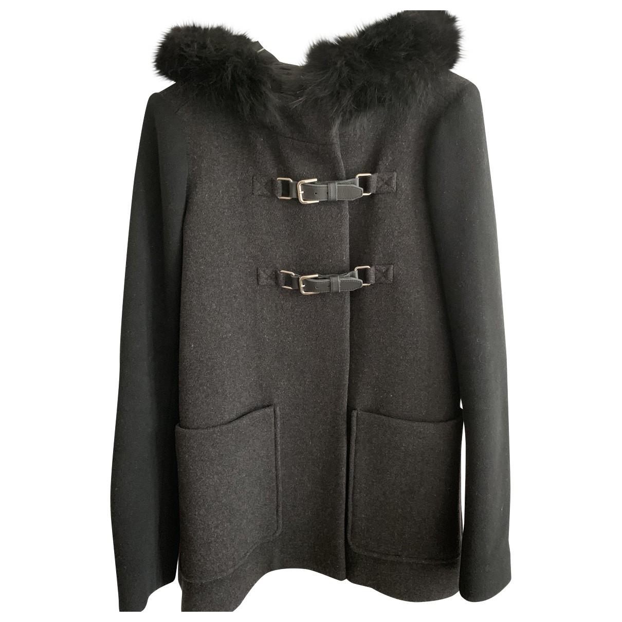 Maje - Manteau   pour femme en laine - noir