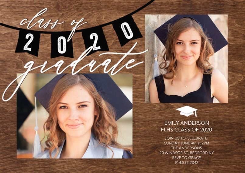 Graduation Invitations 5x7 Cards, Premium Cardstock 120lb, Card & Stationery -Grad Party 2020 Flags by Tumbalina