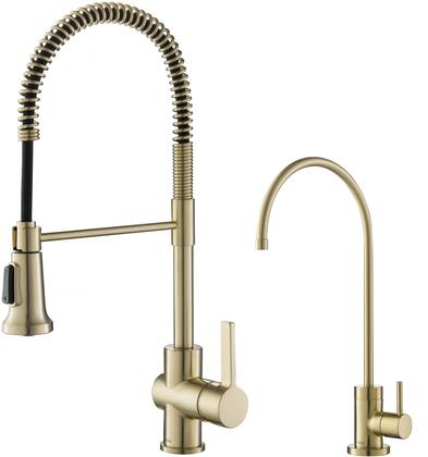 KPF1690FF100BG KRAUS Britt Commercial Style Kitchen Faucet and Purita    Water Filter Faucet Combo in Brushed