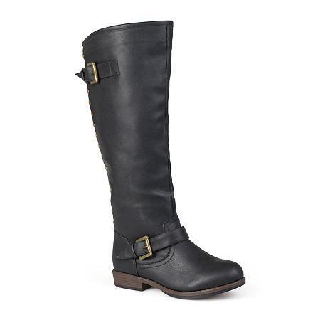 Journee Collection Womens Spokane Wide Calf Riding Boots, 7 1/2 Medium, Black