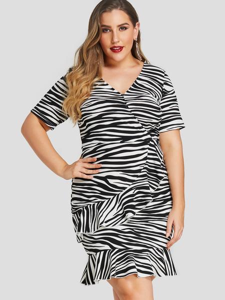 Yoins Plus Size Crossed Front Zebra V-neck Dresses