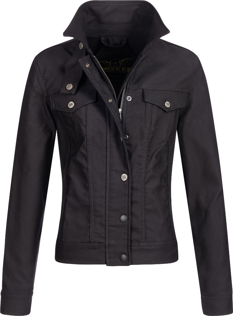 Rokker Black Jacket Lady Short Black Textile Motorcycle Jacket S