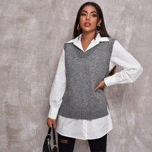 V Neck Slit Hem Sweater Vest Without Blouse