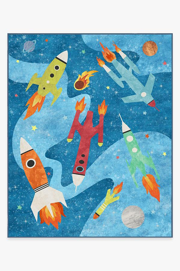 Washable Rug Cover & Pad | Rocket Ships Space Blue Rug | Stain-Resistant | Ruggable | 8'x10'