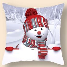 Christmas Snowman Print Cushion Cover Without Filler