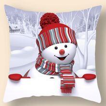 Kissenbezug mit Weihnachten Schneemann Muster ohne Fuelle