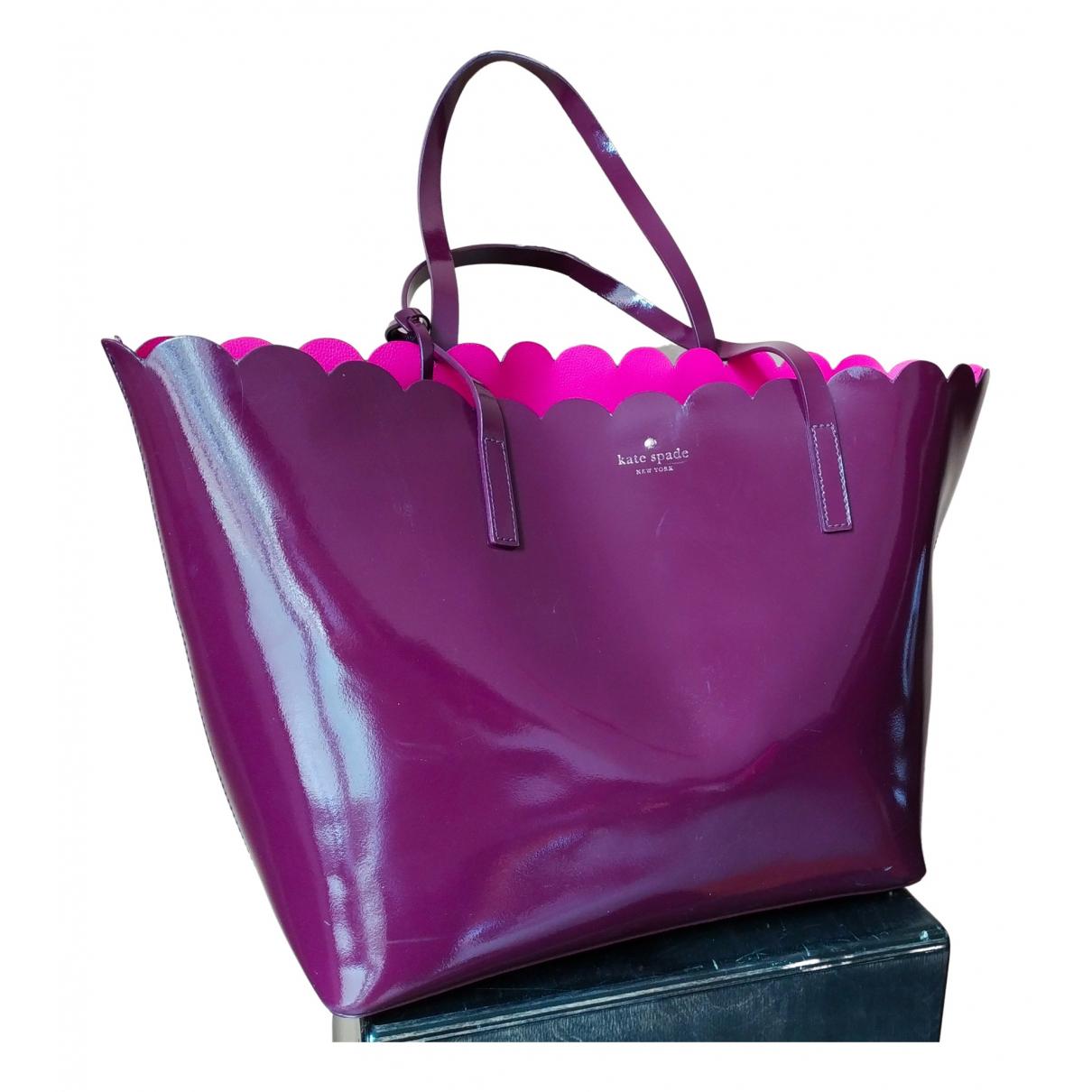 Kate Spade - Sac a main   pour femme en cuir verni - violet