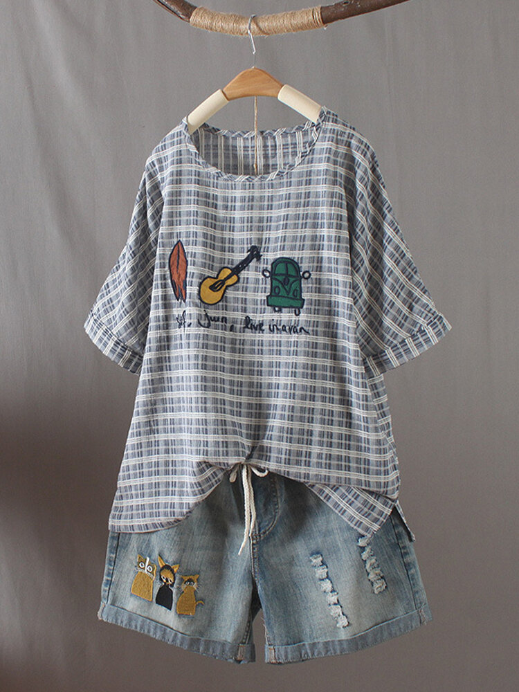 Cartoon Plaid Embroidery O-Neck Short Sleeve Casual T-shirt