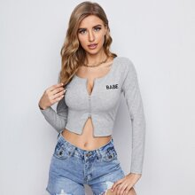 Letter Embroidered Zipper Up Tee