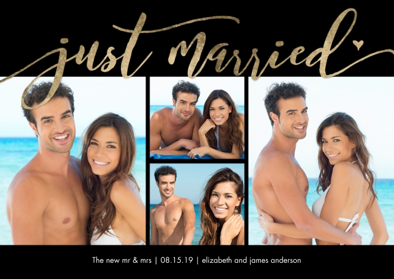 Just Married Flat Matte Photo Paper Cards with Envelopes, 5x7, Card & Stationery -Just Married Gold