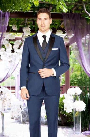Men's Slim Fit 1 Button Satin Peak Lapel Matching Vest French Blue