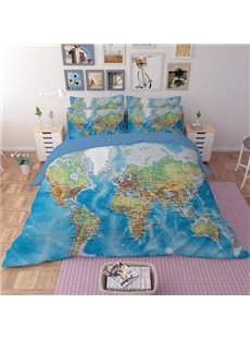 The World Map Design 4-Piece Polyester Duvet Cover Sets