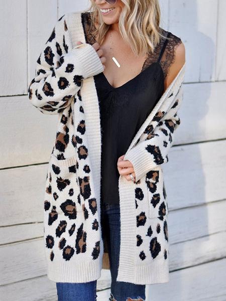Milanoo White Sweaters Cardigans Women V Neck Long Sleeve Leopard Print Cardigan