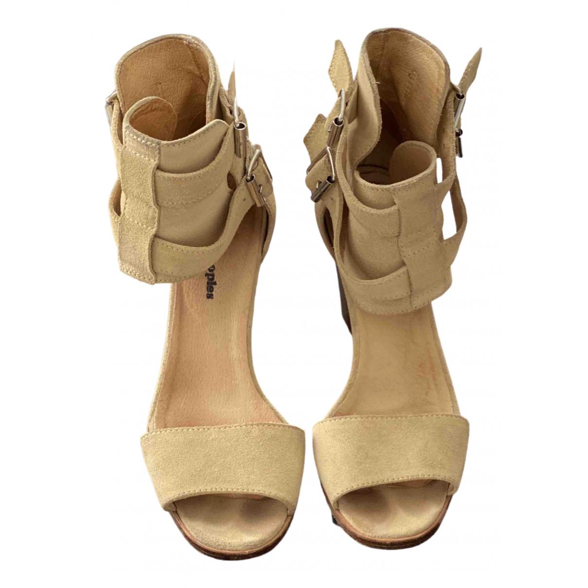 The Kooples \N Beige Leather Sandals for Women 37 EU
