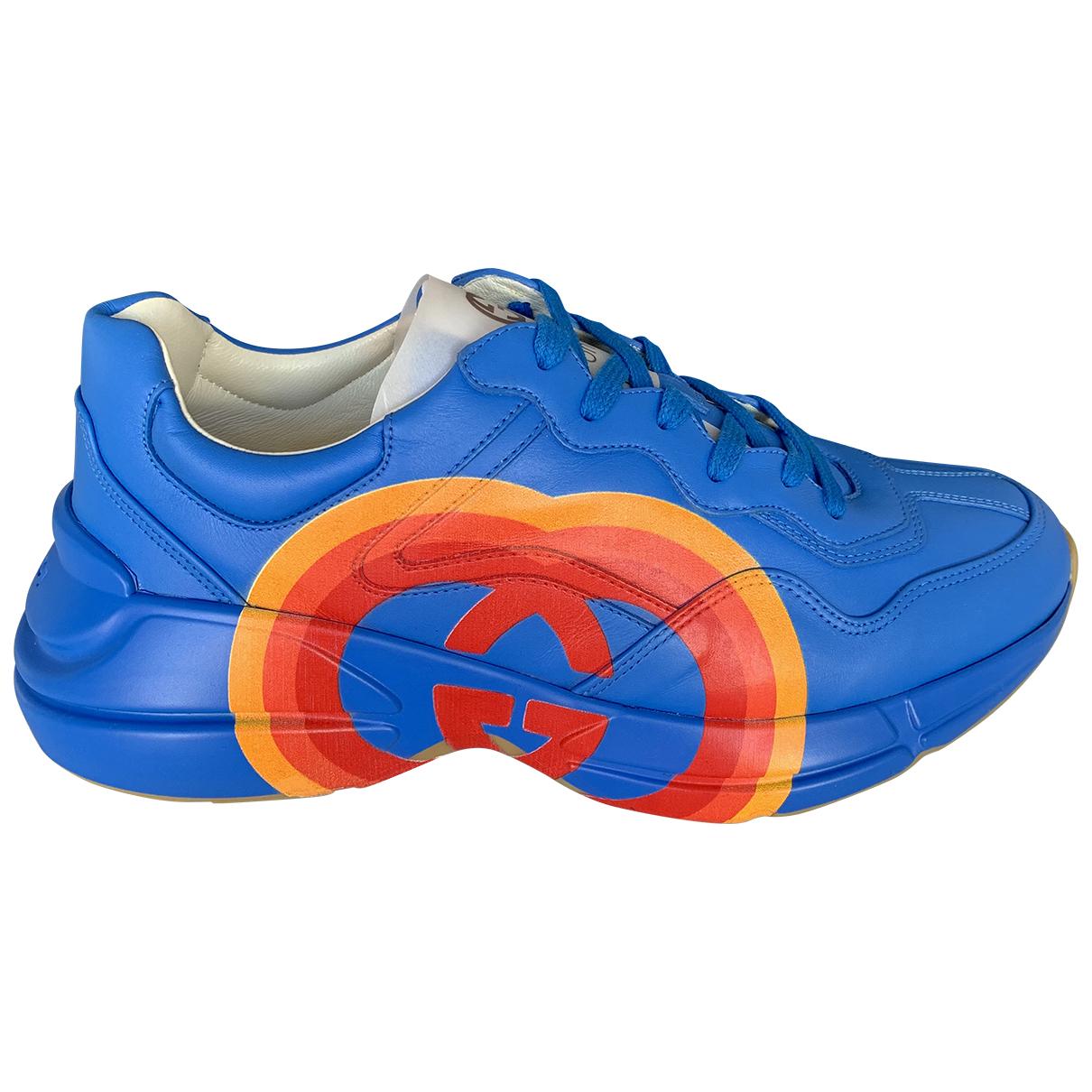Gucci - Baskets Rhyton pour homme en cuir - bleu