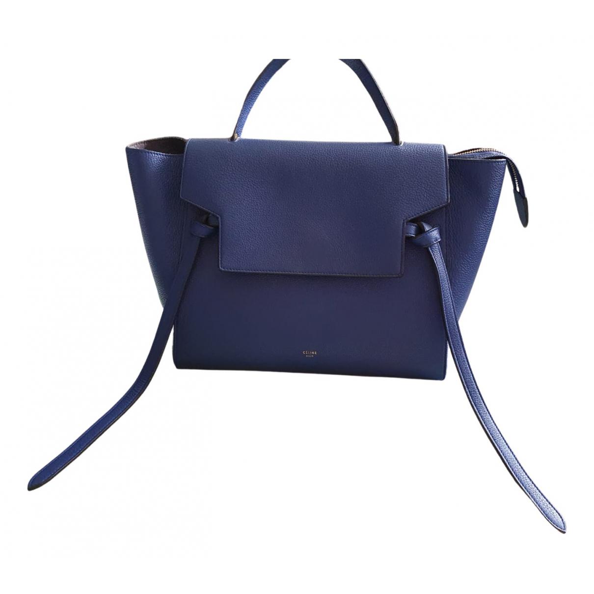 Celine Belt Handtasche in  Blau Leder