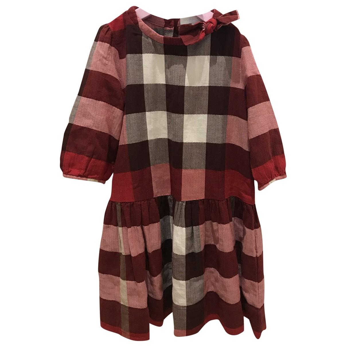 Burberry - Robe    pour enfant en coton - rouge
