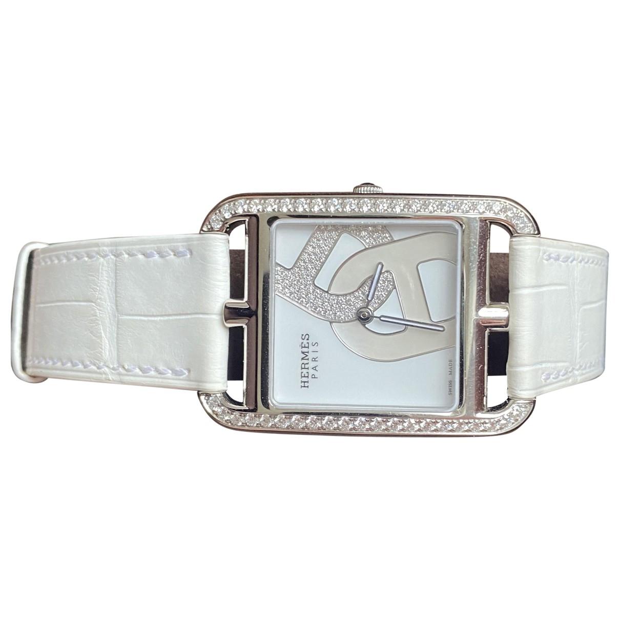 Hermes Cape Cod Diamants Uhr in  Weiss Stahl