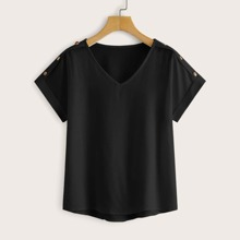 Bluse mit V Kragen, Knopfen Detail und Stufensaum